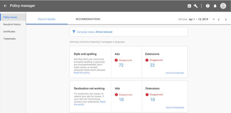 Policy Manger Google Ads | Online Marketing Nieuws week 12 | Succesfactor.nu