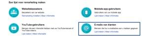 Een Google Adwords customer match campagne vind je onder de optie 'e-mails van klanten'.