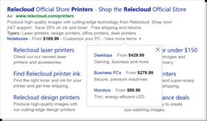 Afbeelding prijsextensies Bing Ads