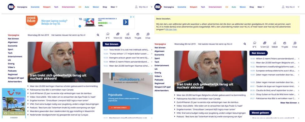 Zo ziet Nu.nl eruit met en zonder AdBlockers