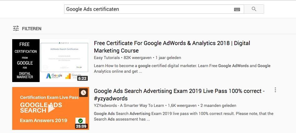 De antwoorden voor de Examens uit Google Academy for Ads zijn Online te vinden