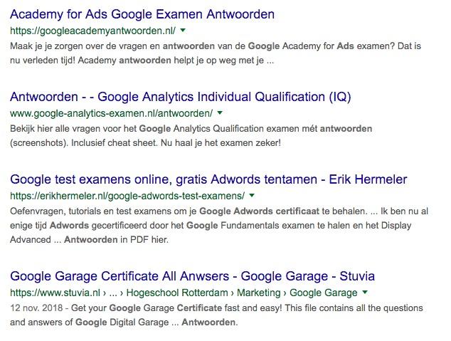 De antwoorden uit examens van Google Academy for Ads zijn Online te vinden
