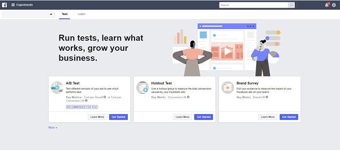 Test met experimenten binnen Facebook