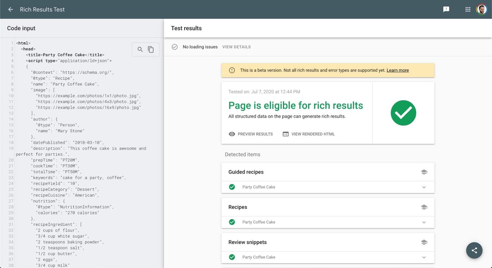 Update Google Search Console: Rich Result Test