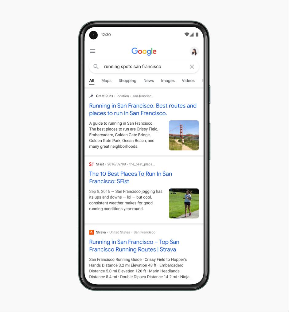 Nieuwe google zoekresultaten op mobiel met nieuw lettertype