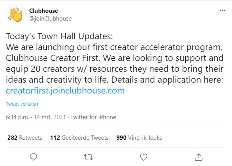 clubhouse helpt creators